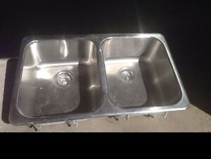 31.5in top mount stainless steel double sink!