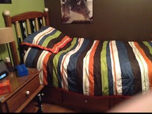 Baseball Themed Twin Bed and Night Stand
