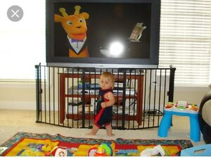 Looking for baby gate for entertainment stand