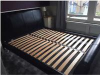 King size leather black bed frame