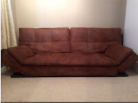 £150 brown soft worn leather look modern sofa bed