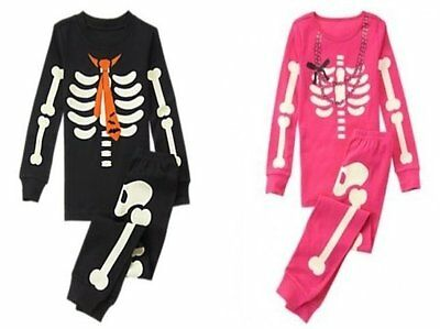NWT Gymboree SKELETON Halloween Costume 2016 Pajamas/Gymmies Glow-In-The-Dark](Skeleton Pajamas)