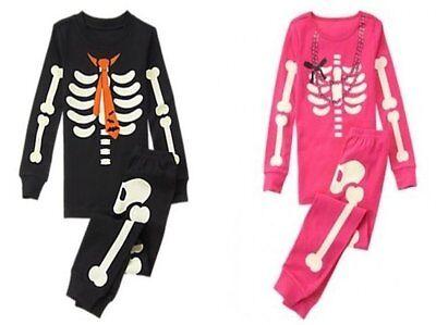 NWT Gymboree SKELETON Halloween Costume 2016 Pajamas/Gymmies Glow-In-The-Dark](Skeleton Pajamas)
