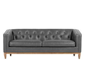 Brand New Rogers 3 Seater Sofa, Oxford Grey Premium Leather