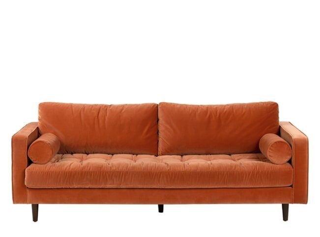 Orange Velvet 3 Seater Sofa