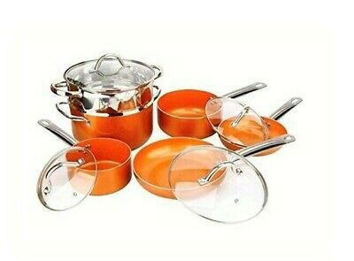 10-Piece Copper Luxury Induction Nonstick Cookware Set Steamer Skillet Sauce Pan