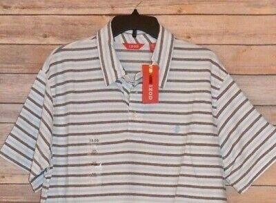 MEN'S XL IZOD OXFORD STRIPE POLO GOLF SPORTS SHIRT COLOR: SKY BLUE STRIPED Mens Oxford Golf Shirt