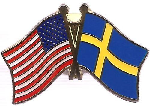 LOT OF 12 Sweden Friendship Flag Lapel Pins - Swedish Crossed Flag Pin