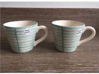 NEW - 5 mint green pattern mugs. Hand painted