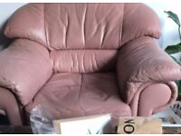 Dusty Pink Leather Armchair- £20