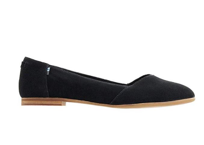 TOMS Women's Julie Flats Black Suede Size 6 US