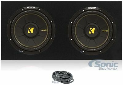 "2) Kicker 44CWCD124 CompC 12 ""1200W Car Subwoofer + Sealed Sub Box Enclosure"