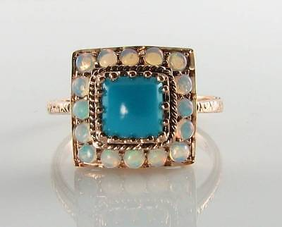 DIVINE 9K 9CT ROSE GOLD PERSIAN TURQUOISE & OPAL ART DECO INS RING FREE RESIZE ()