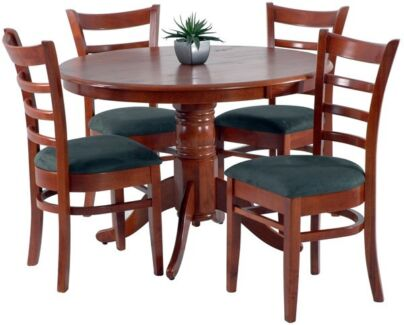 9 PCE MARRI DINING SUITE WITH HIGH BACK BLACK LEATHER CHAIRS Dining Tables