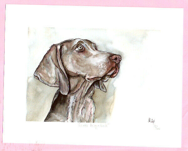 Weimaraner Weim Signed Art Print UK Artist Elle Wilson In who do you trust*