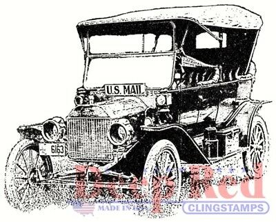 Deep Red Stamps Old Mail Truck Rubber Cling Stamp