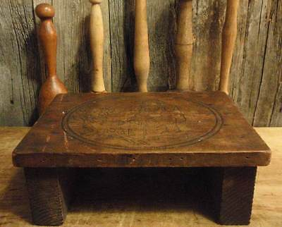 PRIMITIVE ANTIQUE WOODEN STOOL RISER HAND MADE BY YOUNG BOY SQUARE NAILS SIGNED on Rummage