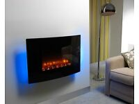 Be Modern Electric Fire Model 1006 Orlando Magma Curved Black Glass