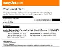 EasyJet one-way flight from London Gatwick->Chania, Greece 6/9/18 08:00->13:55 £100 incl.name change