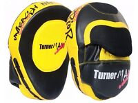 TurnerMAX Yellow Focus Pads/Mitts for Boxing, Martial Arts & MMA Practice