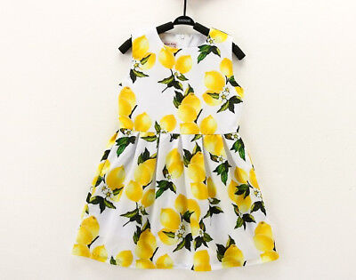 Sommerkleid Festlich Mädchenkleid Lemon Zitrone Baumwolle Geburtstag Gr. 116-122