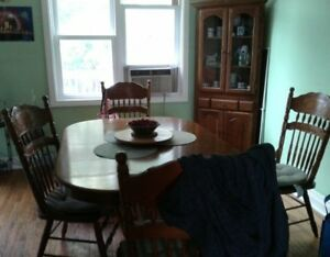 Dinning table and corner cabinet