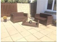 Outdoor garden rattan sofa and table set