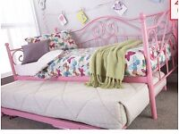 Pink medina day metal day bed with trundle and two mattresses