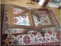 Glass top wooden base coffee table excellent condition