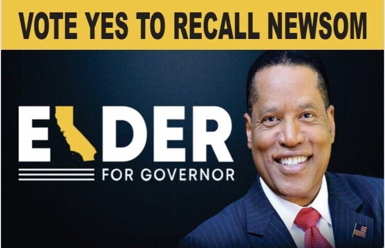 LARRY ELDER FOR GOVERNOR - VOTE YES TO RECALL GAVIN NEWSOM 4X6 IN BUMPER STICKER