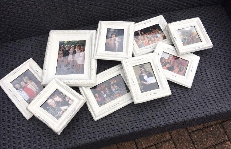 Cream/White Vintage Distressed Style Metal Multi Picture Frame Photo ...