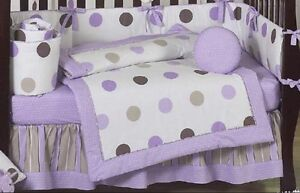 Purple and brown polka dot baby bedding