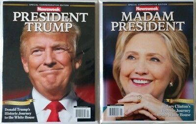 Newsweek President Donald Trump  Hillary Clinton Madam President Error Magazines