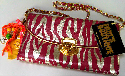 Pauls Boutique Millie Pink Gold Zebra Print Chain Strap Clutch Purse Bag £44