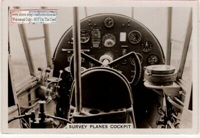 The Interior Of The Cockpit Of Land Aerial Survey Airplane 1930s Trade Ad Card