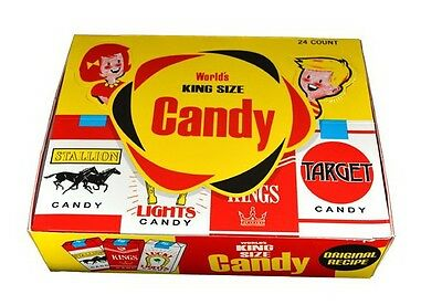 1 BOX (24 PACKS) WORLDS KING SIZE BULK CANDY CIGARETTES STICKS CANDIES PARTY BAG