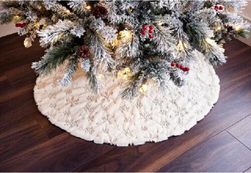 Fur+Sequin+Snowflake+Christmas+Tree+Skirt+Festive+Home+Xmas+Snowflake+Decor