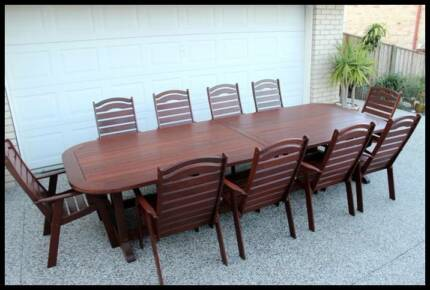 CUSTOM - 11 Pce KWILA OUTDOOR DINING SET -Near new condition