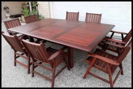 Quality 9 pce Extendable Kwila Outdoor dining set