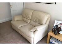 Two Seater Cream White Leather Natuzzi Sofa