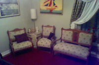 ANTIQUE RARE COLLECTABLE EASTLAKE SETTEE & CHAIRS SET