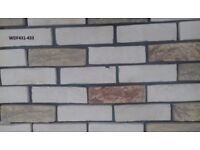 Brick slips: Yellow Barock; yellow/white/violet flamed color ref 431/433 WDF, Hand molding