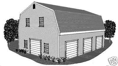 30 x 40 3 Stall Gambrel Garage Building Plans Open Walk-up Loft Bonus Room Area