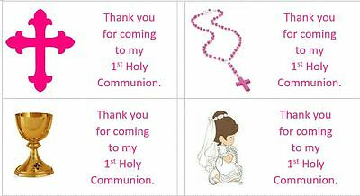 40 x Personalised 1st Holy Communion/Girls labels/stickers/party/cake/sweets/bag](Communion Party Bags)