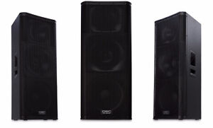 QSC KW153 powered speakers with covers