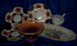 Antique english plates,tray, pre-Shelley,James Kent,Winton 6 pcs