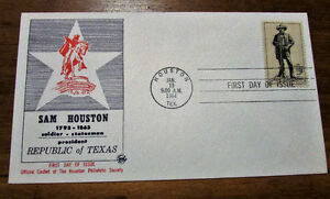 1964 Sam Houston 5 Cent First Day Cover