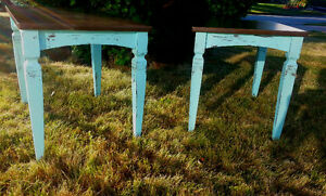 Cottage Chic/Rustic,Turquoise/Aqua, Wood, Distressed End Tables