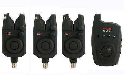 TF Gear NEW Reaction Bite Alarm Set 3 Alarms + Receiver Bitealarm Remote TFG