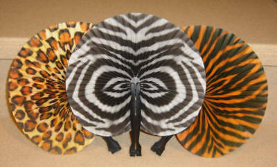 12 SAFARI ZOO ANIMAL PRINT PAPER FANS LEOPARD ZEBRA TIGER Wall Decor,Party Favor